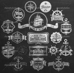 Nautical Badges And Labels On Chalkboard #design #vector #eps Download: http://depositphotos.com/42046759/stock-illustration-nautical-badges-and-labels-on.html?ref=5747528