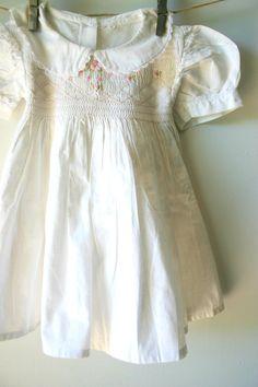 Vintage White Cotton Girls Farm Dress.