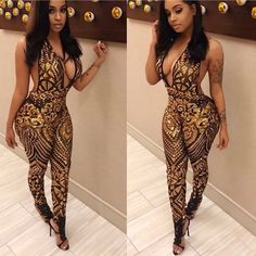 0fb0cf5ac998 New Fashion Jumpsuit Rompers Womens Summer Backless Jumpsuit Sexy Patchwork  Party V-neck Jumpsuits Rompers Plus Size