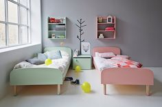 Flexa Kids Single Beds in Mint Green and Pink - the perfect pastel toddler's room! Girl Room, Girls Bedroom, Kids Bedroom Ideas, Sibling Bedroom, Kids Bedroom Storage, Baby Bedroom, Kids Single Beds, Childrens Bedroom Decor, Toddler Rooms
