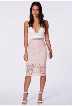 Missguided - Ailena Pink Organza Flocked Midi Skirt