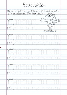 Alphabet Writing Practice, Alphabet Tracing Worksheets, Homeschool Worksheets, Printable Preschool Worksheets, Tracing Letters, Portuguese Lessons, Flashcards For Kids, Spanish Teaching Resources, Preschool Writing