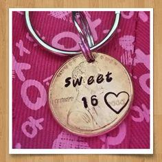 sweet 16 keychain, custom gift 16th birthday penny keychain sixteenth birthday gift for her for daughter personalized sweet 16 by TiffysLove on Etsy