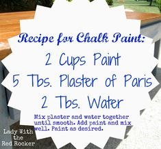 ~Lady With the Red Rocker~ Chalk Paint Recipe
