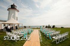 outdoor lighthouse wedding