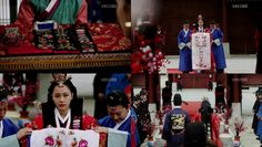 For the headgear and ornaments on the  hair, a longer yongjam is put through the sushik (a hairstyle for the wedding itself) in order for the ap daenggi, a pair of ribbons to be hung from it to the front. A coronet known as hwagwan is worn on the head and doturak daenggi, a big ribbon is hung from it to the back.