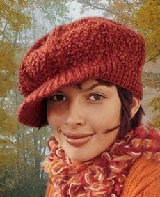 Женская вязаная кепка спицами — Симпатичный Гаврош | Вязание Шапок Спицами и Крючком