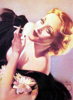 Marlene Dietrich painted in 1934 by pin-up artist Alberto Vargas (1896 – 1982).