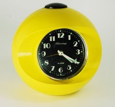 Vintage RARE Blessing Mod Yellow Germany Ball Alarm Clock 60s-70s