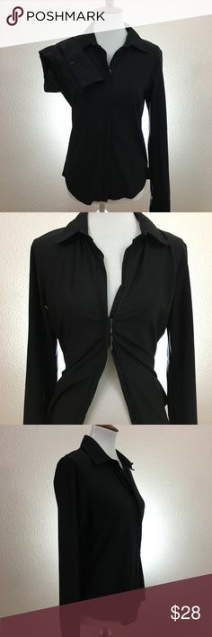 CAbi Black Double Zip Up Collar Blouse Size L. CAbi double zip up collared blouse. The body of the blouse isn't you normal material it more of a stretchy/elastic material   Size: L Style: Long sleeve collard blouse Color: Black Material: 91% Nylon 9% Spandex Condition: In excellent used condition with plenty of useful life left.  Measurements Bust (Armpit to Armpit): 20in Sleeve Length: 28.5in Length – Back (Top to Bottom): 26.5in  From a smoke and pet free home, offers welcome. HAPPY…