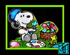 Yard Art Wood Cut-Out Easter Snoopy painting a basket of Woodstocks 28 X 22