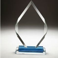 Diamond Crystal Trophy An Attractive Flat Glass Plaque Crafted In Clear And Blue Featuring A Peak Design With Thick Multifaceted Beveled Edges