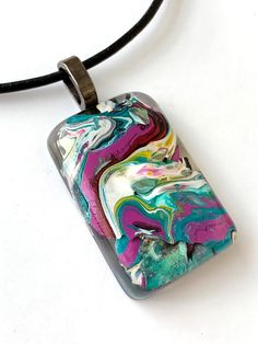 Handmade acrylic pour beautiful leather pendant necklace one of a kind