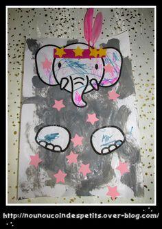 """- Pour changer du clown , aujourd'hui réalisation de l'éléphant du cirque après la lecture du livre """" Le cirque """" de bébé koala de chez hachette jeunesse . - pour cette activité il vous faudra : . une feuille blanche , peinture libre sur toute la feuille... School Parties, Mardi Gras, School Supplies, Blog, Activities For Kids, Kindergarten, Elephant, Mosaics, Grey"""