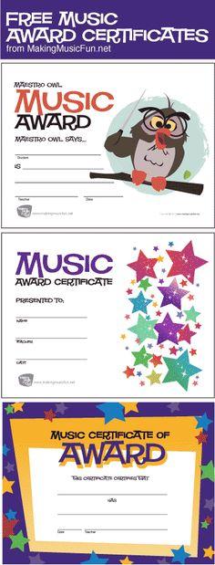 Free Printable General Music Award Certificates MakingMusicFun - free award certificates