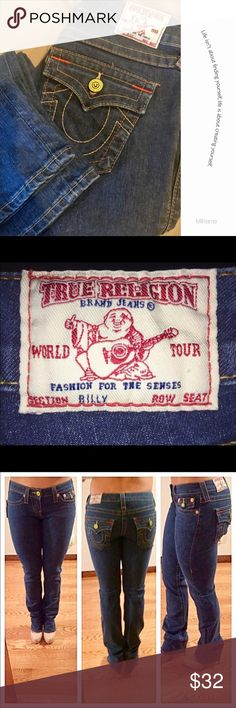 Pre❤️True Religion Billy Style Great Condition 👖 Great Shape just didn't fit my daughter. No Fraying..pills or pills. Popular Billy style boot cut perfect for summer nights... Waist 26 True Religion Jeans Boot Cut