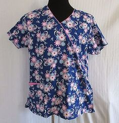 Dickies Scrub Top Sz XL Blue & Pink Floral Pattern w/ Pink Piping