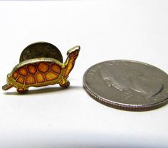 Vintage Turtle / Tortoise, Gold Tone and Enamel Pin / Lapel Pin / Hat Pin, Costume Jewelry by VINTAGEandMOREshop on Etsy https://www.etsy.com/listing/235714117/vintage-turtle-tortoise-gold-tone-and