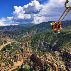 Who's ready for a ride on the Giant Canyon Swing at Glenwood Caverns Adventure Park? Photo by Instagram user @taylonwayne. #GlenwoodSprings #Colorado www.visitglenwood.com