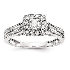 14k White Gold Princessa Diamond Halo Double Shank Engagement Ring – Sparkle & Jade