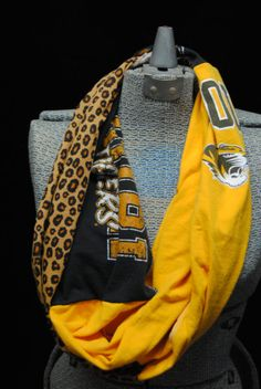 Mizzou Tigers Upcycled TShirt Infinity Scarf by SeasonedWithStyle, $14.00