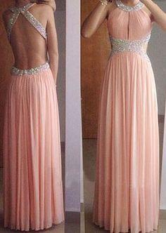 Pink Sexy Prom Dresses,Long Evening Dresses,A-Line Prom Dresses