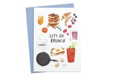 "Set a date for brunch (the best meal hybrid to ever be created) with this beautifully illustrated card! Dimensions: Measures 6.25"" x 4.5"". Details: Includes coordinating envelope. Redcruiser is a coll"