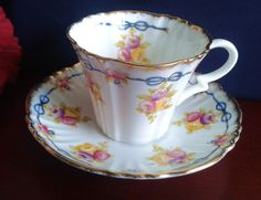Royal Albert Crown China Tea Cup and Saucer Blue Ribbon w Roses, Fluted c 1927