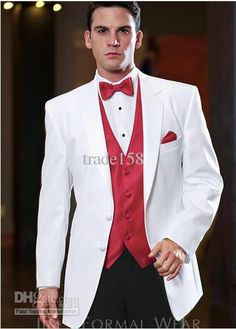 Wholesale groom tuxedos buy new style white jacket black pants groom