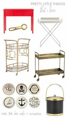 Love this Idea for a retro bar cart. That red table is what my living room needs.