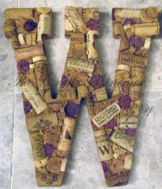 "Extra Large Custom Handmade Artistic Wine Cork Letters for Wreath, Wall, or General Decor 13"" - pinned by http://pin4etsy.com"