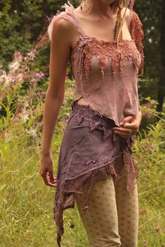 Gypsy tattered Heather fairy silk top.