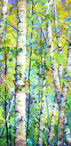 Spring Birches l - x Frank Balaam - sometimes we need to recognize the beauty in simple things! Watercolor Trees, Watercolor Paintings, Encaustic Painting, Abstract Tree Painting, Birch Tree Art, Aspen Trees, Spring Painting, Wood Engraving, Painting Inspiration