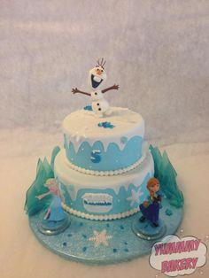 Frozen birthdaycake ice olaf elsa anna
