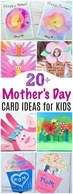 A collection of the cutest Mother's Day Card Ideas and homemade gifts that kids can make themselves. Handprint cards, pop-up cards, photo cards, and more adorable keepsakes that mom will treasure! #mothersday #cards #kidscrafts #papercrafts #giftideas