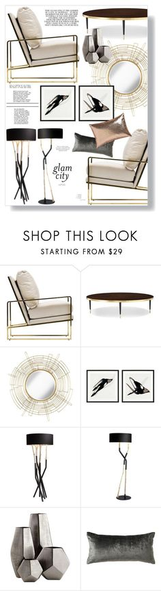 """""""glam city"""" by kelle-elizabeth ❤ liked on Polyvore featuring interior, interiors, interior design, home, home decor, interior decorating, Kate Spade, Uttermost, Eichholtz and Bleu Nature"""
