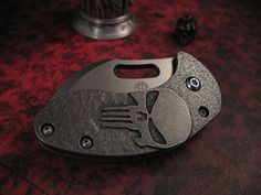"""Curtiss Nano Linerlock  Full Titanium frames  S.P.O.T. Pivot System  Lock face carbidized  Titanium pocket clip  Opened 4.75"""", Closed is 3""""  Cutting Edge 1.75""""  Each knife has a custom design and finish on the frames  CPM-154 blades .125"""" thick with several different finishes  (Source: Curtiss Knives)"""