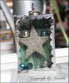 Small soldered trinket box with sparkling silver glitter star and mercury glass beads