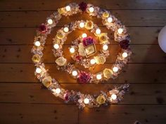 Candle mandala - would be great to do something like this for anti-depression spell. Picture at the center of you, any corresponding flower petals and herbs leading the way, and white tea light candles to light the way. Meditate on your positive qualities Tea Light Candles, Tea Lights, White Candles, Soy Candles, Yule, Crystal Grid, Crystal Mandala, Candle Magic, Beltane