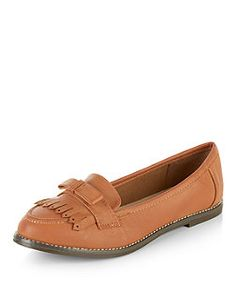 Tan Bow Tassel Front Loafers  | New Look