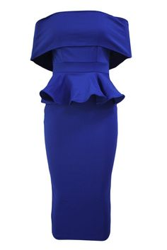 Casual Off Shoulder Flounce Slit Plain Midi Bodycon Dress Plain Dress, Midi Dresses Online, Dress Silhouette, Party Fashion, Women's Fashion, Blue Dresses, Peplum Dresses, Chic Dress, Bodycon Dress