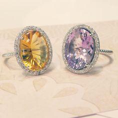 Specialty Cut Gemstone Rings with Diamond Halos