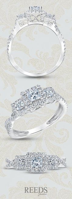 Forever Beautiful Princess Three-Diamond Halo Twist Engagement Ring 1ctw