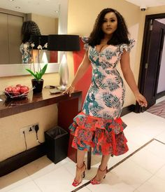 2019 New Women Flare Short Sleeve V-Neck Leaf Print Cascading Ruffles Hem Mermaid Midi Dress Sexy Party Dresses Vestidos 1244 Size S Color Pink Latest African Fashion Dresses, African Print Dresses, African Dress, Ankara Fashion, Nigerian Fashion, African Clothes, African Lace, African Prints, Club Dresses