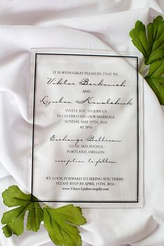 These classic acrylic wedding invitations were printed with a black frame and stunning font layout for the invitation. We can print acrylic stationery with any multitude of colors and shapes. Click through to see more acrylic invitation ideas or pin to your own boards!