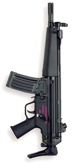 HK53: Rifle power in a submachine gun package. Cambered in 5.56mm x 45 NATO.