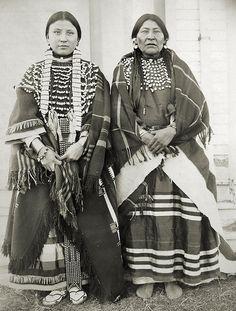Martha Walkslow and her Mother; women of the Assiniboine Nation, Fort Belknap, Montana, 1899
