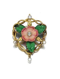 ENAMEL AND DIAMOND BROOCH, CIRCA 1900. Designed as a briar rose decorated with polychrome enamel, pearls and centring on a circular-cut diamond.