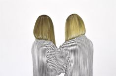<p>Swiss artist, Charlotte Hopkins Hall lives and works in London where she paints these beautiful portraits of women from behind and their hair. I love how detailed are the hair, the colors and movem