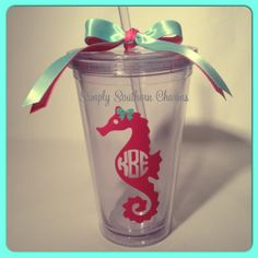 Monogrammed Seahorse 16oz Tumbler by SimplySouthernCharms on Etsy, $14.00 Vinyl Tumblers, Personalized Tumblers, Personalized Gifts, Vinyl Monogram, Monogram Gifts, Silhouette Vinyl, Silhouette Projects, Seahorse Wedding, Handmade Wedding Gifts